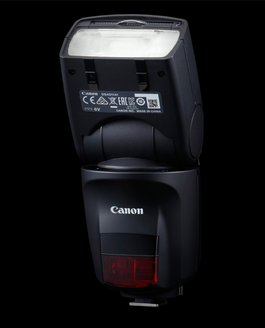 A Canon Speedlite 470EX-AI, with the head tilted up.